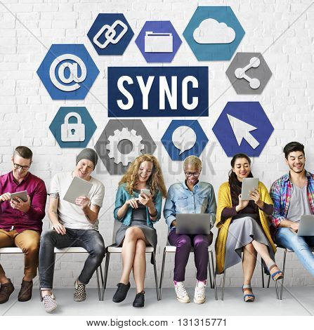 Technology Sync Word Graphic Concept