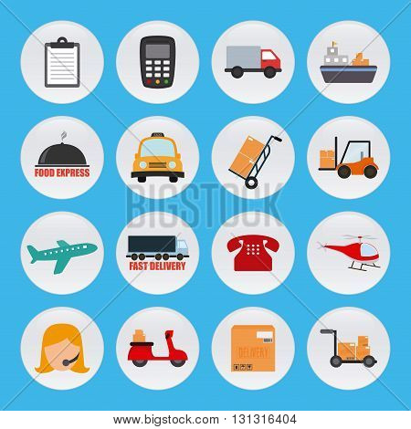 Set of different icons for delivery purposes on a blue background