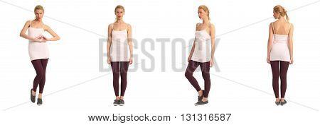 Full Length Portrait Of Beautiful Teen In Leggings