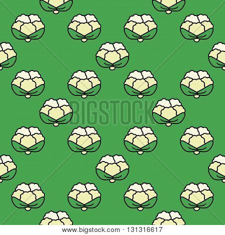 Seamless pattern cauliflower on a green background.