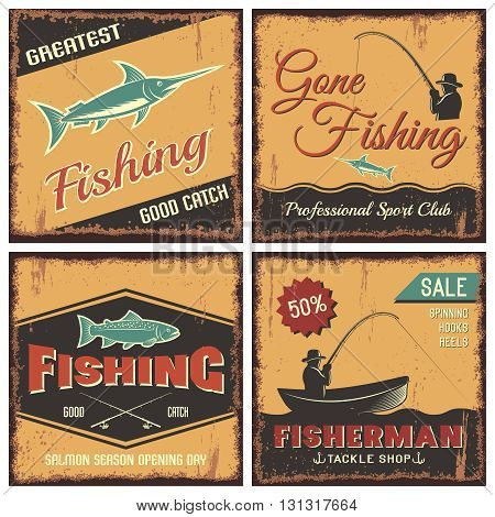 Fishing vintage style concept with man in hat boat rod salmon swordfish and inscriptions isolated vector illustration