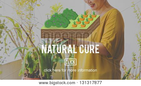 Natural Cure Organic Farming Planting Concept