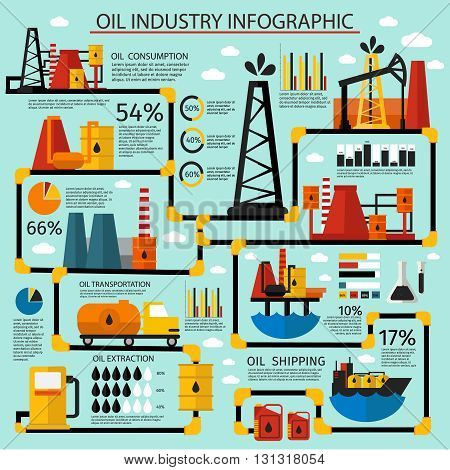 Oil industry infographic set step by step oil production from consumption to shipping vector illustration