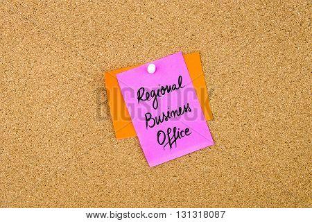 Regional Business Office Written On Paper Note
