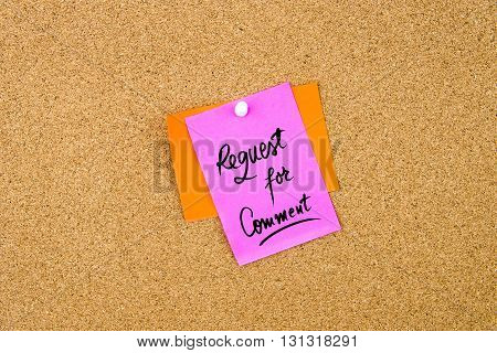 Request For Comment Written On Paper Note