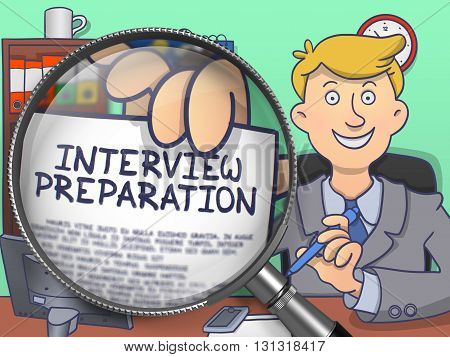 Interview Preparation on Paper in Officemans Hand through Magnifying Glass to Illustrate a Business Concept. Multicolor Modern Line Illustration in Doodle Style.
