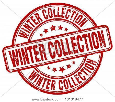 Winter Collection Red Grunge Round Vintage Rubber Stamp.winter Collection Stamp.winter Collection Ro