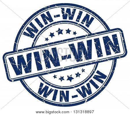Win-win Blue Grunge Round Vintage Rubber Stamp.win-win Stamp.win-win Round Stamp.win-win Grunge Stam