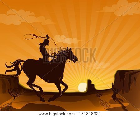 Wild west landscape poster with cowboy on horse running in the desert with a lasso vector illustration