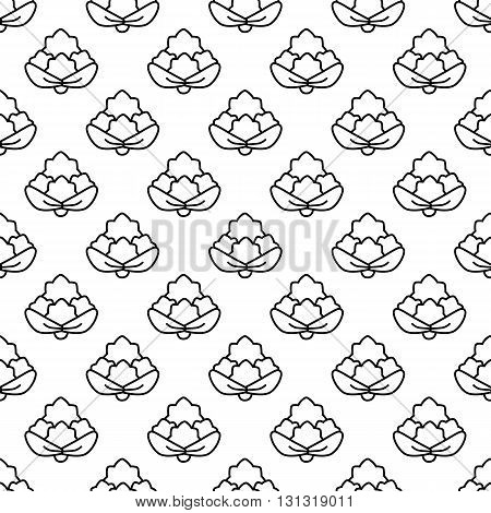 Seamless pattern cauliflower contour on a white background.