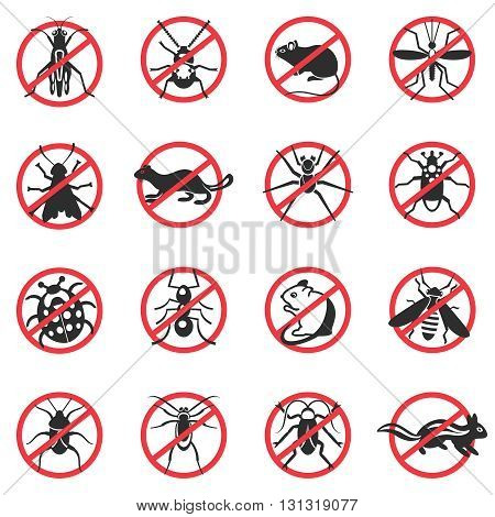 Pest animals flat icons with insects rodents of black color on sign of ban isolated vector illustation