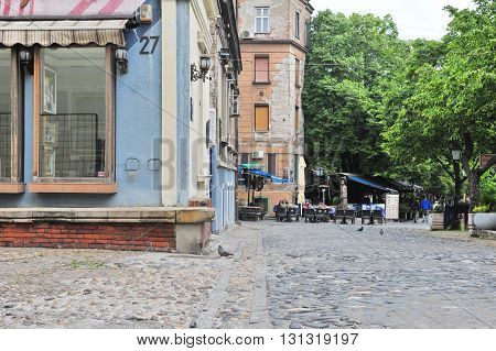 BELGRADE SERBIA - MAY 1: View of the Skadarska pedestrian street in centre of Belgrade on May 1 2016. Belgrade is a capital and largest city of Serbia.