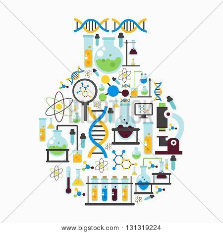 Chemistry lab colored flat composition with isolated colored icon set combined in flask form vector illustration