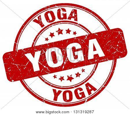 Yoga Red Grunge Round Vintage Rubber Stamp.yoga Stamp.yoga Round Stamp.yoga Grunge Stamp.yoga.yoga V