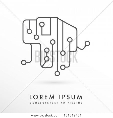 ELEPHANT SHAPE INCORPORATED WITH DIGITAL CIRCUIT , ICON / LOGO