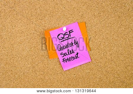 Qsf Quarterly Sales Forecast Written On Paper Note