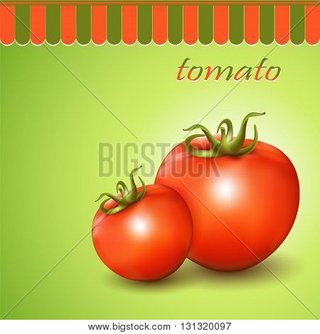 Red fresh tomatoes on abstract background. Vector illustration.