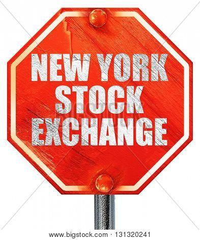 new york stock exchange, 3D rendering, a red stop sign