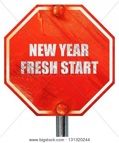 new year fresh start, 3D rendering, a red stop sign