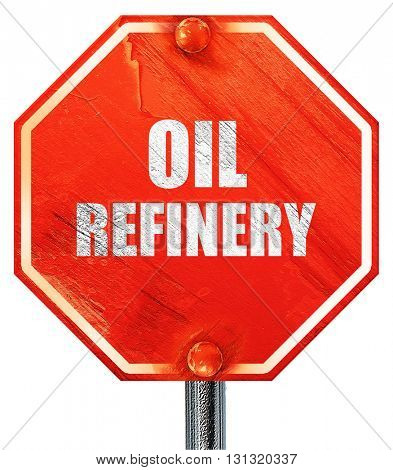oil refinery, 3D rendering, a red stop sign