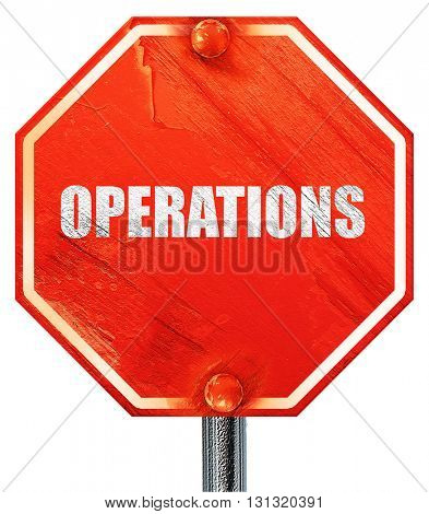 operations, 3D rendering, a red stop sign
