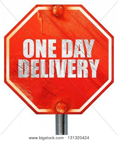 one day delivery, 3D rendering, a red stop sign