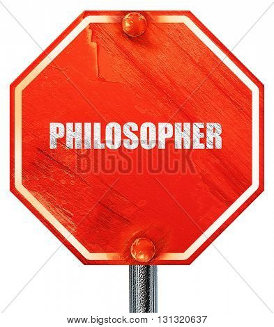 philosopher, 3D rendering, a red stop sign