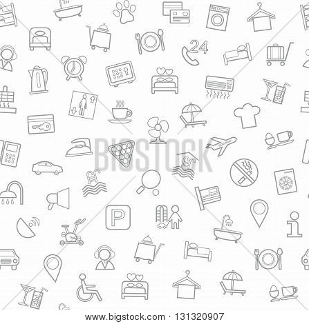 Vector monochrome background with gray linear icons of hotel services on a white field.