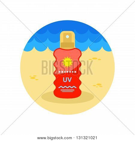 Sun Cream in Spray vector icon. Beach. Summer. Summertime. Vacation eps 10