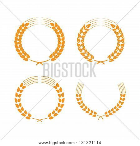 Wreaths of wheat ears or rice. Vector wheat ears set. Vector design element. Set of vector wreaths