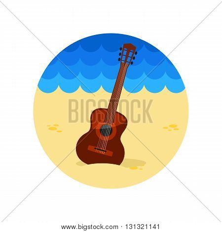 Guitar Beach vector icon. Beach. Summer. Summertime. Vacation eps 10
