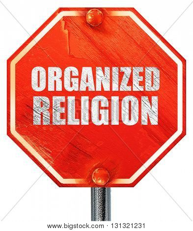 organized religion, 3D rendering, a red stop sign
