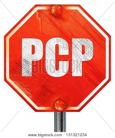 pcp, 3D rendering, a red stop sign