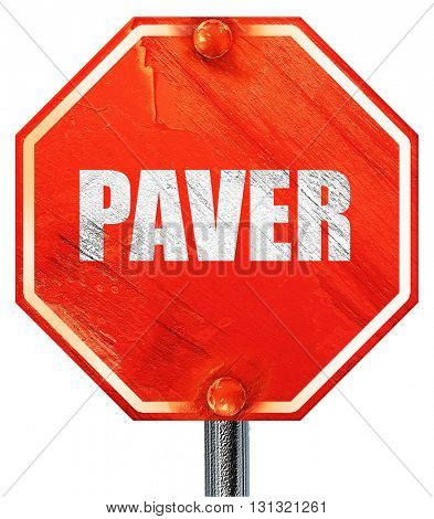 paver, 3D rendering, a red stop sign