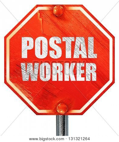 postal worker, 3D rendering, a red stop sign