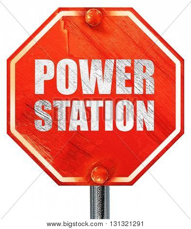 power station, 3D rendering, a red stop sign