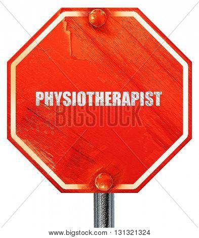 physiotherapist, 3D rendering, a red stop sign