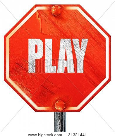 play, 3D rendering, a red stop sign