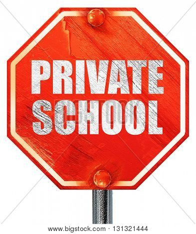 private school, 3D rendering, a red stop sign