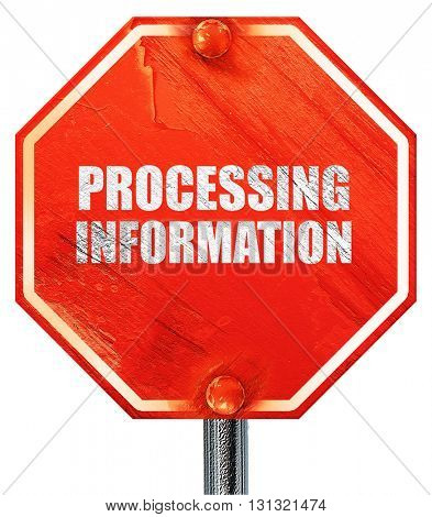 processing information, 3D rendering, a red stop sign