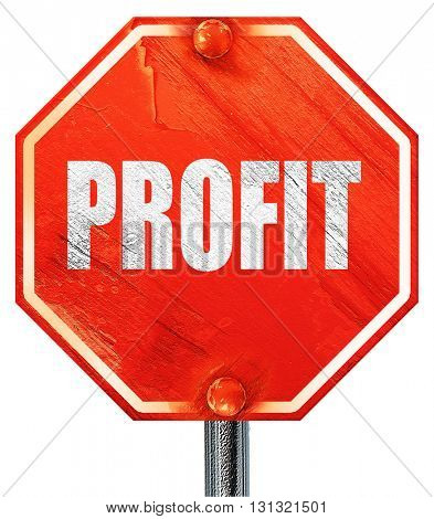 profit, 3D rendering, a red stop sign
