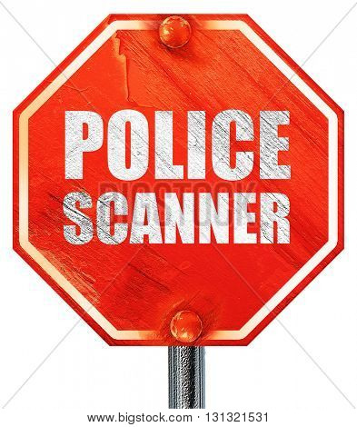 police scanner, 3D rendering, a red stop sign