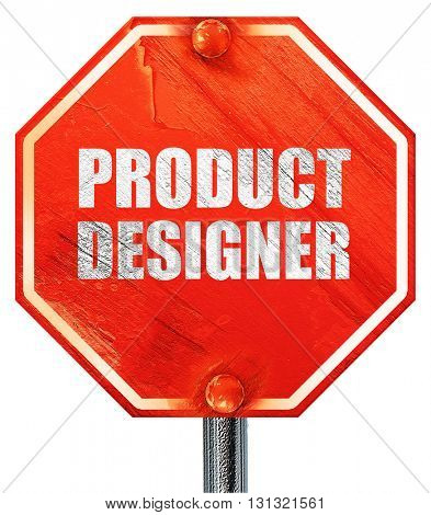 product designer, 3D rendering, a red stop sign