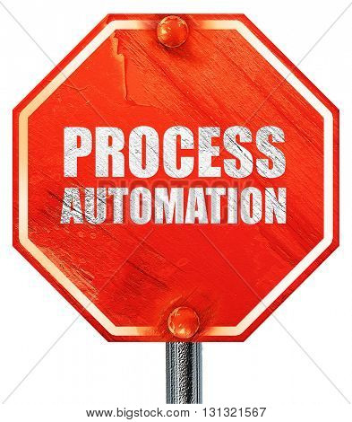 process automation, 3D rendering, a red stop sign