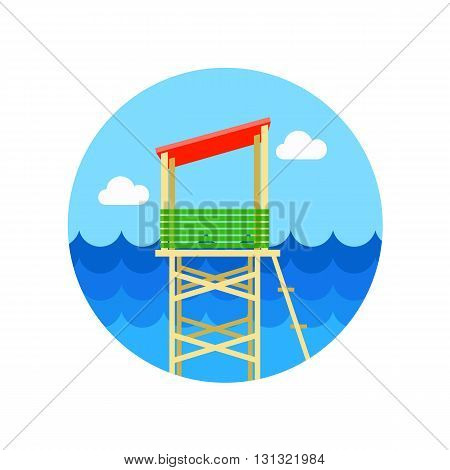 Lifeguard tower vector icon. Beach. Summer. Summertime. Vacation eps 10