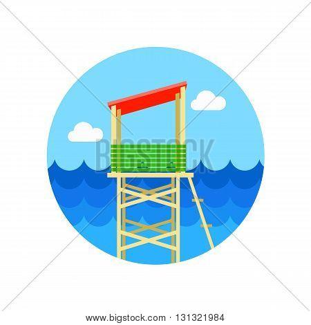 Lifeguard tower vector icon. Beach. Summer. Summertime. Vacation eps 10