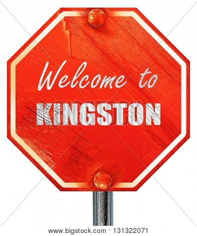 Welcome to kingston, 3D rendering, a red stop sign