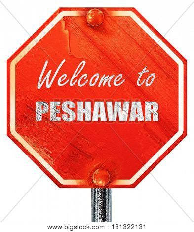 Welcome to peshawar, 3D rendering, a red stop sign