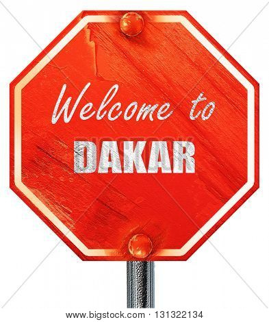 Welcome to dakar, 3D rendering, a red stop sign