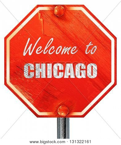 Welcome to chicago, 3D rendering, a red stop sign